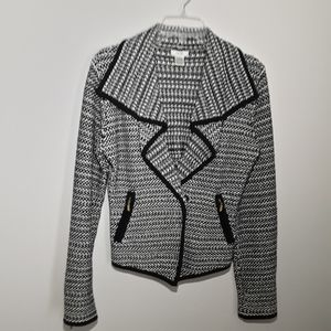 Cache black and white knit jacket